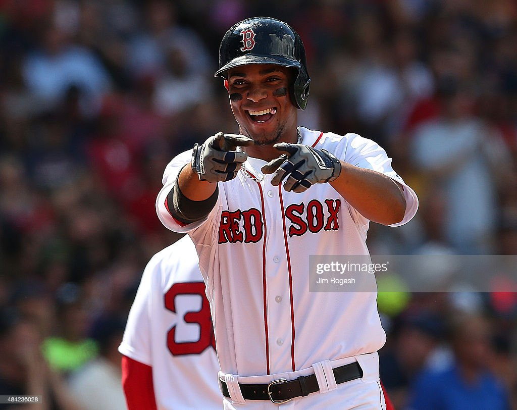 <a gi-track='captionPersonalityLinkClicked' href=/galleries/search?phrase=Xander+Bogaerts&family=editorial&specificpeople=9461957 ng-click='$event.stopPropagation()'>Xander Bogaerts</a> #2 of the Boston Red Sox reacts after his home run in the third inning against the Seattle Mariners at Fenway Park on August 16, 2015 in Boston, Massachusetts.