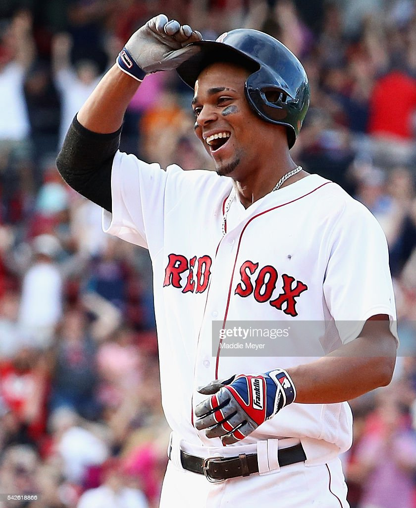 <a gi-track='captionPersonalityLinkClicked' href=/galleries/search?phrase=Xander+Bogaerts&family=editorial&specificpeople=9461957 ng-click='$event.stopPropagation()'>Xander Bogaerts</a> #2 of the Boston Red Sox reacts after hitting the game winning single allowing Mookie Betts #50 to score, defeating the Chicago White Sox 8-7 in tenth inning at Fenway Park on June 23, 2016 in Boston, Massachusetts.