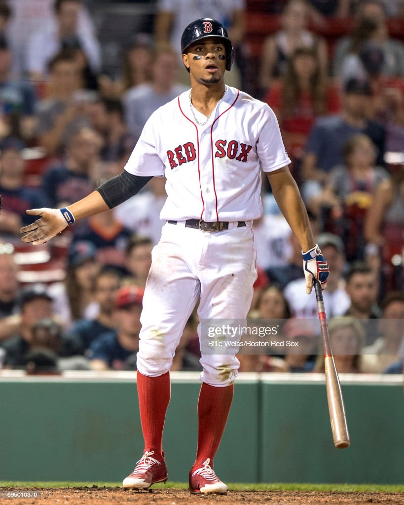 Xander Bogaerts #2 of the Boston Red Sox reacts after striking out during the seventh inning of a game against the Detroit Tigers on June 11, 2017 at Fenway Park in Boston, Massachusetts.