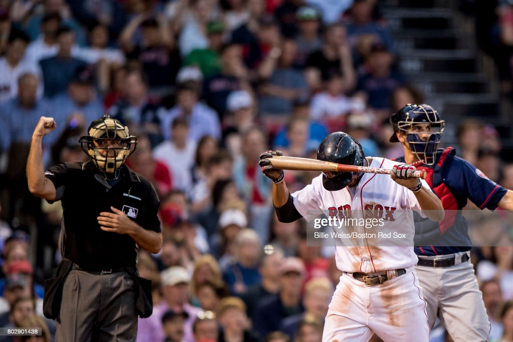 Xander Bogaerts #2 of the Boston Red Sox reacts after striking out during the third inning of a game against the Minnesota Twins on June 28, 2017 at Fenway Park in Boston, Massachusetts.