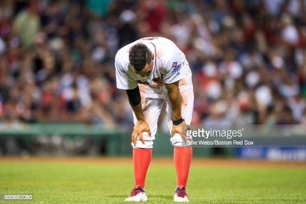 Xander Bogaerts of the Boston Red Sox reacts after striking out during the eighth inning of a game against the New York Yankees on August 19 2017 at...
