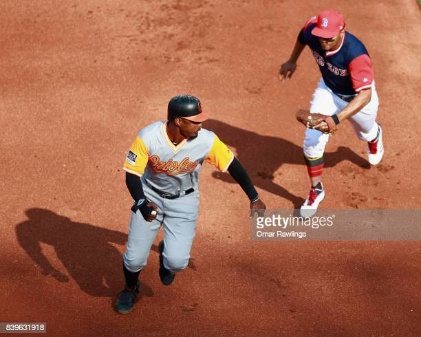 Xander Bogaerts of the Boston Red Sox runs out Adam Jones of the Baltimore Orioles at the top of the second inning during the game at Fenway Park on...