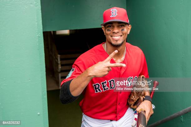 Xander Bogaerts of the Boston Red Sox smiles before a game against Northeastern University on February 23 2017 at Fenway South in Fort Myers Florida
