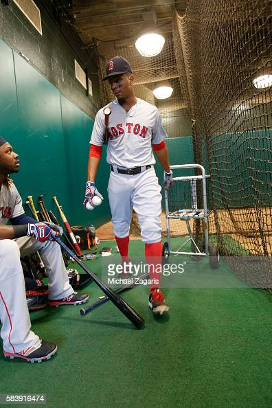 Xander Bogaerts of the Boston Red Sox stands in the indoor batting cage prior to the game against the San Francisco Giants at ATT Park on June 8 2016...
