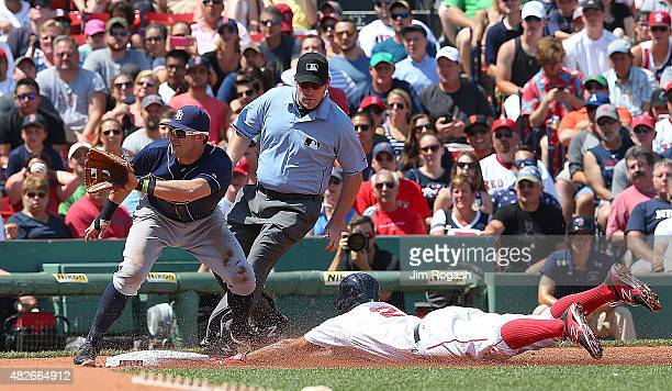 Xander Bogaerts of the Boston Red Sox steals third as Evan Longoria of the Tampa Bay Rays takes the throw in the second inning at Fenway Park on...