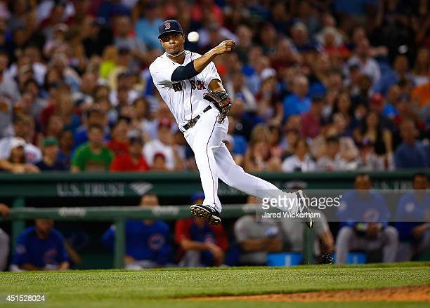 Xander Bogaerts of the Boston Red Sox throws a barehanded ground ball to first base for the third out in the top of the seventh inning against the...