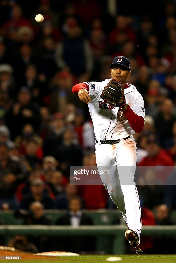 Xander Bogaerts #72 of the Boston Red Sox throws out David Freese #23 of the St. Louis Cardinals at first base in the eighth inning during Game Six of the 2013 World Series at Fenway Park on October 30, 2013 in Boston, Massachusetts.