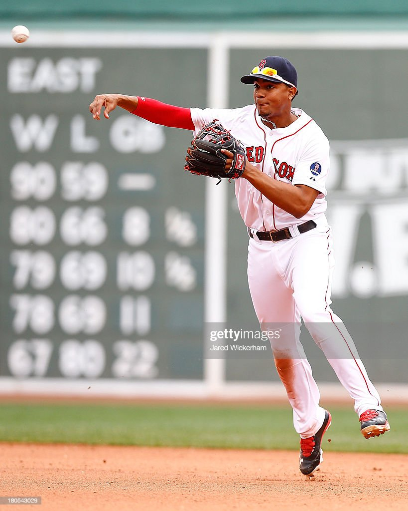 Xander Bogaerts #72 of the Boston Red Sox throws to first base against the New York Yankees during the game on September 14, 2013 at Fenway Park in Boston, Massachusetts.