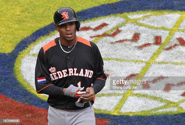 Xander Bogaerts reacts in the third inning during the World Baseball Classic First Round Group B match between the Netherland and Chinese Taipei at...