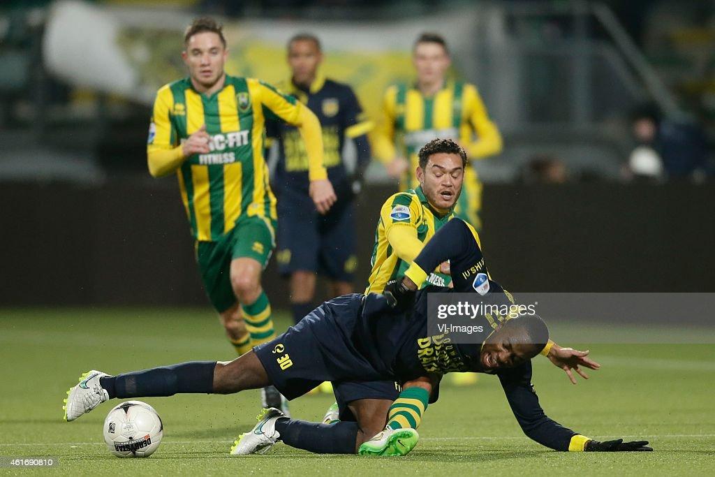 Xander Houtkoop of ADO Den Haag Calvin Mac Intosh of Cambuur Leeuwarden during the Dutch Eredivisie match between ADO Den Haag and SC Cambuur...