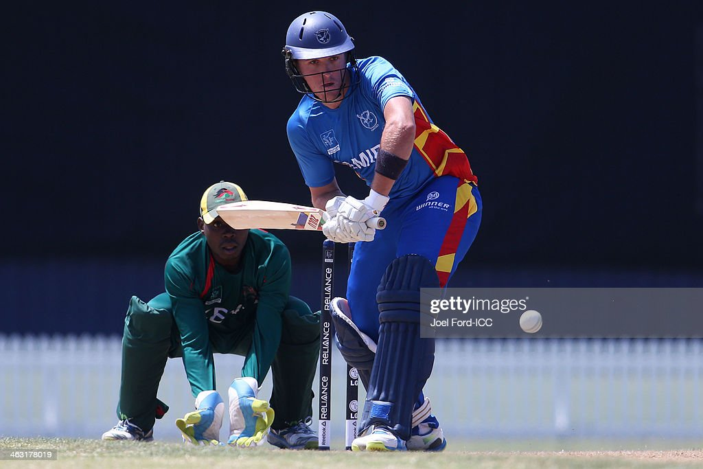 Xander Pitcher of Namibia plays a shot during an ICC World Cup qualifying match between Namibia and Kenya on January 17, 2014 in Mount Maunganui, New Zealand.