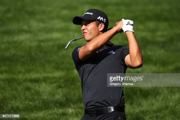 Xander Schauffele hits his second shot on the fifth hole during the second round of the BMW Championship at Conway Farms Golf Club on September 15...