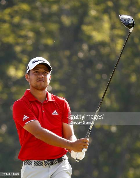 Xander Schauffele hits off the sixth tee during the first round of the World Golf Championships Bridgestone Invitational at Firestone Country Club...