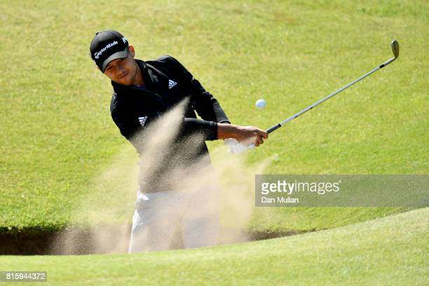 Xander Schauffele of the United States hits a bunker shot during a practice round prior to the 146th Open Championship at Royal Birkdale on July 17...