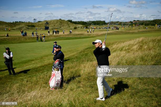 Xander Schauffele of the United States hits his second shot on the 2nd hole during the first round of the 146th Open Championship at Royal Birkdale...
