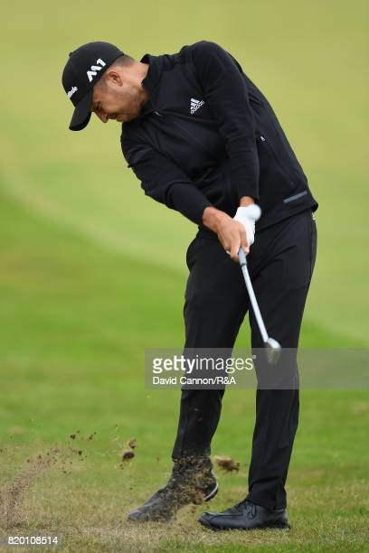 Xander Schauffele of the United States hits his second shot on the 2nd hole during the second round of the 146th Open Championship at Royal Birkdale...