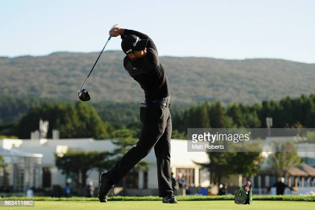 Xander Schauffele of the United States hits his tee shot on the 10th hole during the second round of the CJ Cup at Nine Bridges on October 20 2017 in...