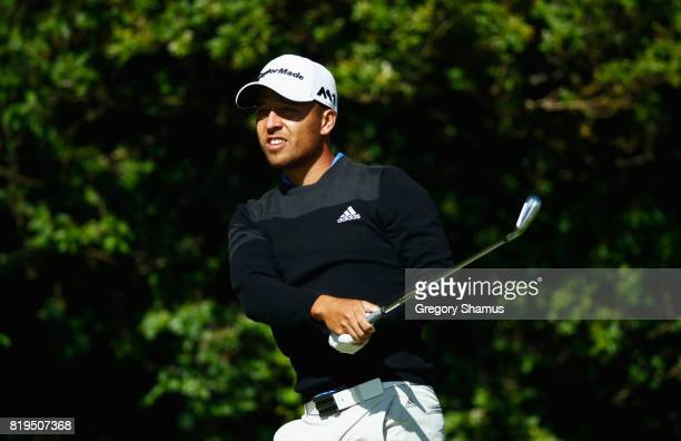 Xander Schauffele of the United States hits his tee shot on the 5th hole during the first round of the 146th Open Championship at Royal Birkdale on...