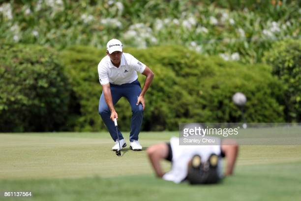 Xander Schauffele of the United States in action during round three of the 2017 CIMB Classic at TPC Kuala Lumpur on October 14 2017 in Kuala Lumpur...