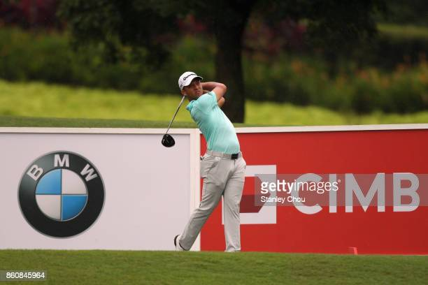 Xander Schauffele of the United States in action during round two of the 2017 CIMB Classic at TPC Kuala Lumpur on October 13 2017 in Kuala Lumpur...