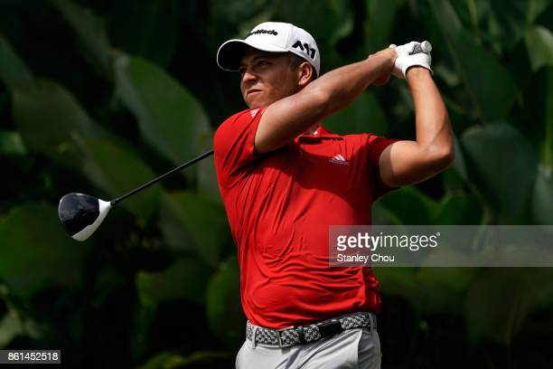 Xander Schauffele of the United States in action during the final round of the 2017 CIMB Classic at TPC Kuala Lumpur on October 15 2017 in Kuala...