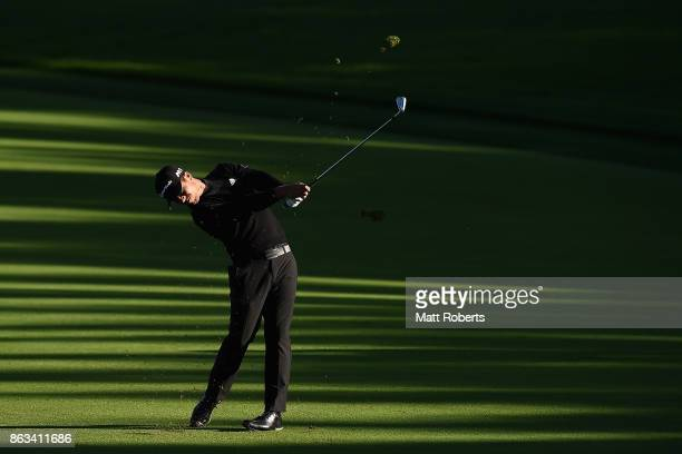 Xander Schauffele of the United States plays his second shot on the 10th hole during the second round of the CJ Cup at Nine Bridges on October 20...