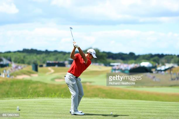 Xander Schauffele of the United States plays his shot from the fourth tee during the final round of the 2017 US Open at Erin Hills on June 18 2017 in...