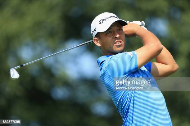 Xander Schauffele of the United States plays his shot from the second tee during the final round of The Northern Trust at Glen Oaks Club on August 27...