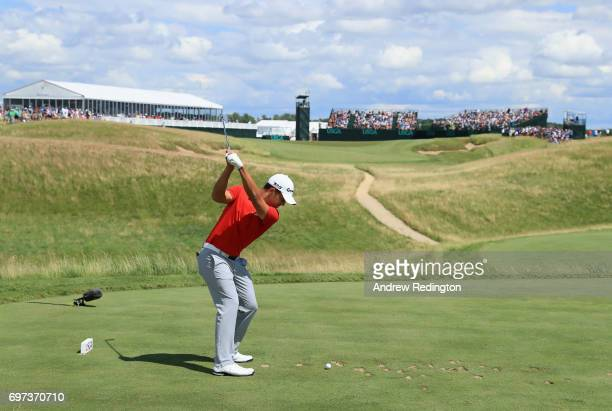 Xander Schauffele of the United States plays his shot from the sixth tee during the final round of the 2017 US Open at Erin Hills on June 18 2017 in...