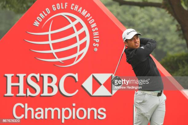 Xander Schauffele of the United States plays his shot from the tenth tee during the final round of the WGC HSBC Champions at Sheshan International...