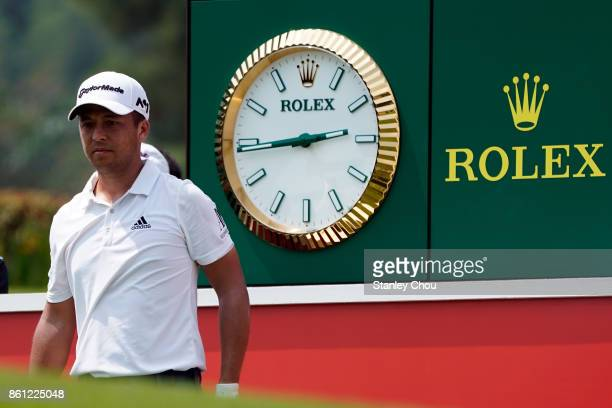 Xander Schauffele of the United States prepares to play on the 18th hole during round three of the 2017 CIMB Classic at TPC Kuala Lumpur on October...