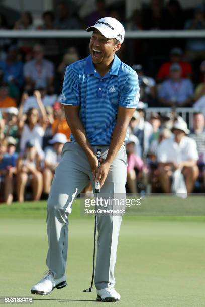 Xander Schauffele of the United States reacts as he wins during the final round of the TOUR Championship at East Lake Golf Club on September 24 2017...