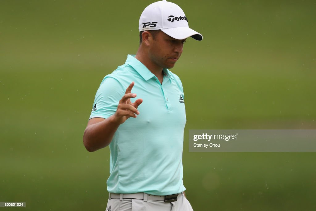 Xander Schauffele of the United States reacts during round two of the 2017 CIMB Classic at TPC Kuala Lumpur on October 13, 2017 in Kuala Lumpur, Malaysia.