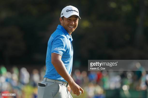 Xander Schauffele of the United States reacts on the 15th green during the final round of the TOUR Championship at East Lake Golf Club on September...