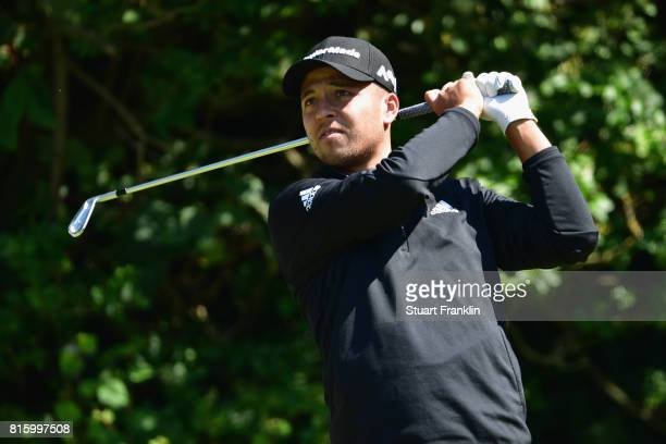 Xander Schauffele of the United States tees off during a practice round prior to the 146th Open Championship at Royal Birkdale on July 17 2017 in...