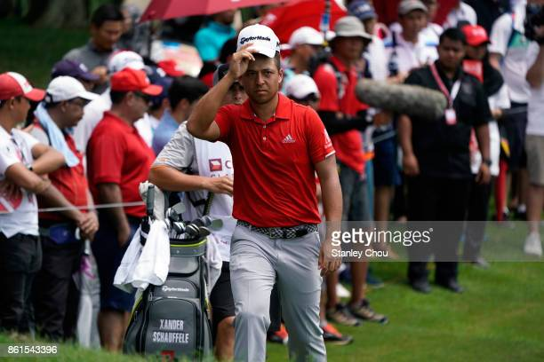 Xander Schauffele of the United States walks to the green on the 16th hole during the final round of the 2017 CIMB Classic at TPC Kuala Lumpur on...