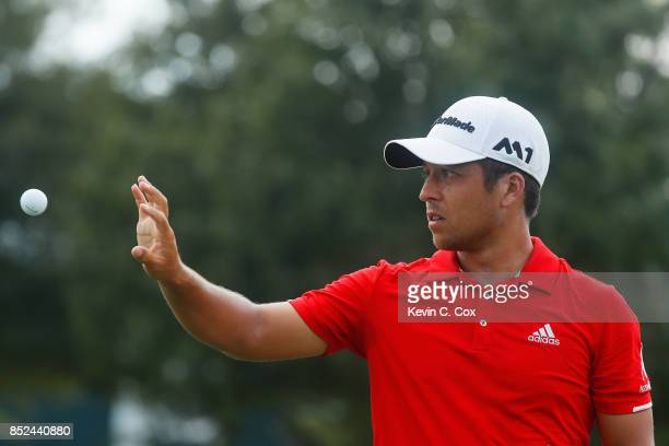 Xander Schauffele of the United States warms up on the range during the third round of the TOUR Championship at East Lake Golf Club on September 23...