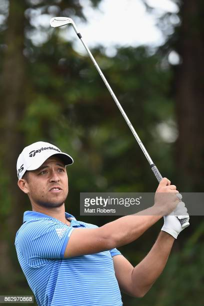 Xander Schauffele of the United States watches his tee shot on the 7th hole during the first round of the CJ Cup at Nine Bridges on October 19 2017...