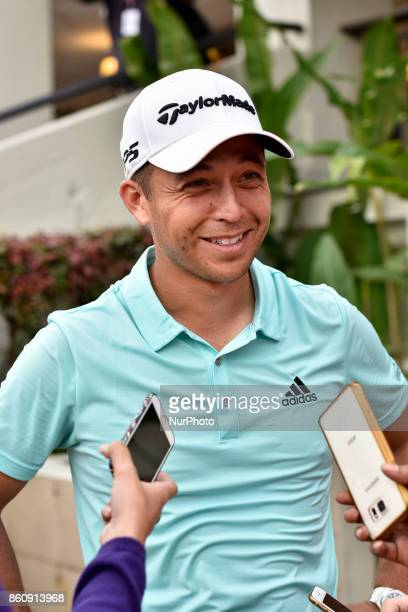 Xander Schauffele of USA has an interview with press during the second round of the CIMB Classic 2017 golf tournament on October 13 2017 at TPC Kuala...