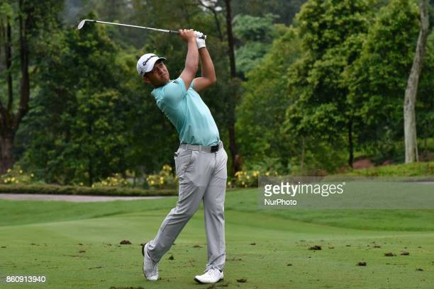 Xander Schauffele of USA in action during the second round of the CIMB Classic 2017 golf tournament on October 13 2017 at TPC Kuala Lumpur Malaysia
