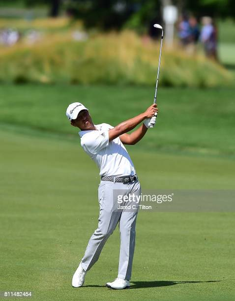 Xander Schauffele plays a shot on the 11th hole during the final round of The Greenbrier Classic held at the Old White TPC on July 9 2017 in White...
