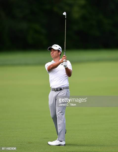 Xander Schauffele plays a shot on the 12th hole during the final round of The Greenbrier Classic held at the Old White TPC on July 9 2017 in White...