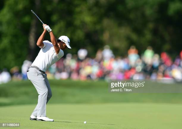 Xander Schauffele plays his second shot on the 17th hole during the final round of The Greenbrier Classic held at the Old White TPC on July 9 2017 in...