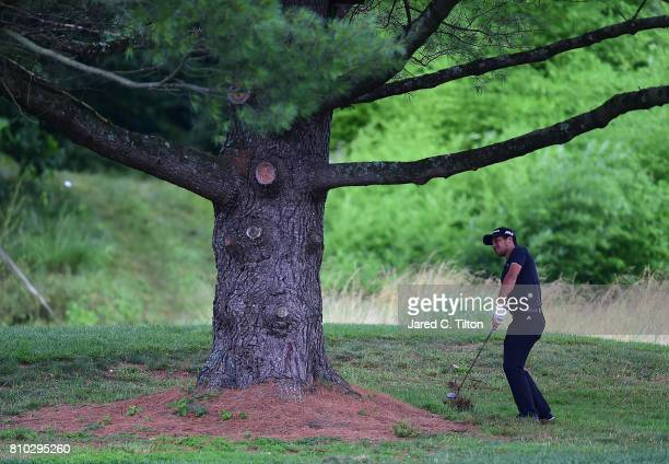 Xander Schauffele plays his third shot on the 12th hole during round two of The Greenbrier Classic held at the Old White TPC on July 7 2017 in White...