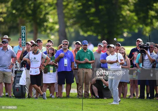 Xander Schauffele plays his third shot on the 17th hole during the final round of The Greenbrier Classic held at the Old White TPC on July 9 2017 in...