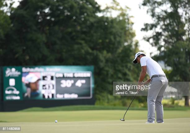Xander Schauffele putts for birdie on the 17th green during the final round of The Greenbrier Classic held at the Old White TPC on July 9 2017 in...
