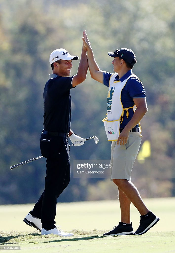 Xander Schauffele reacts after holing in on the second hole during the Final Round of the Sanderson Farms Championship at the Country Club of Jackson on October 30, 2016 in Jackson, Mississippi.