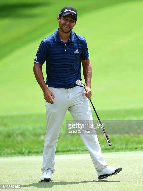 Xander Schauffele reacts after missing his putt on the fifth green during round three of The Greenbrier Classic held at the Old White TPC on July 8...