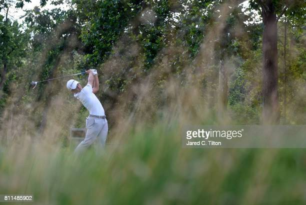 Xander Schauffele tees off the 17th hole during the final round of The Greenbrier Classic held at the Old White TPC on July 9 2017 in White Sulphur...