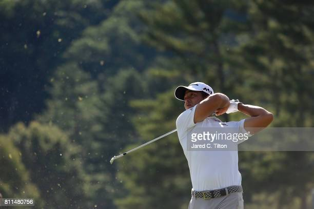 Xander Schauffele tees off the 18th hole during the final round of The Greenbrier Classic held at the Old White TPC on July 9 2017 in White Sulphur...